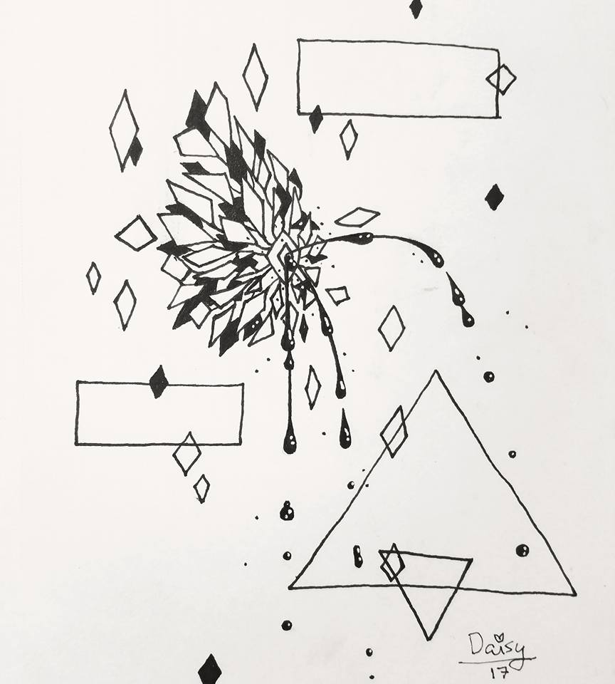 An ink drawing of an abstract, geometric pattern in the shape of a breast squirting black milk from the nipple.