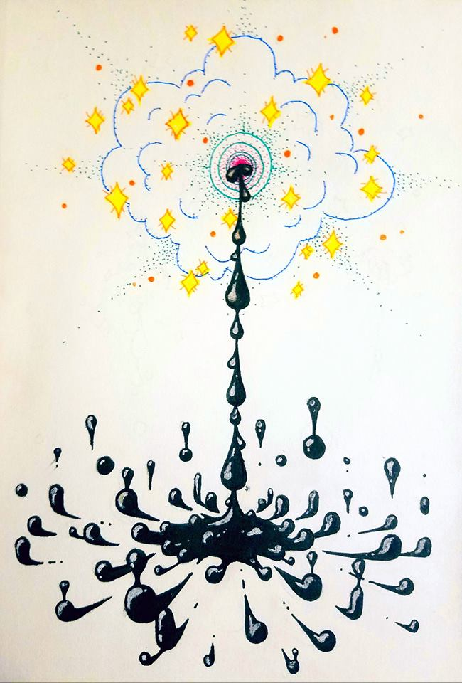 An ink drawing of an abstract cloud-shaped breast with yellow sparkles around it, squirting black milk into a puddle below.