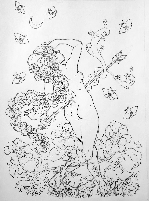 An ink drawing of a nude cis woman ith a long thick braid stumbling with her back to the viewer. A giant arrow pierces her center, and ghosts rise from the wound. Giant daisies are circled around her in a chaotic dance-like motion.