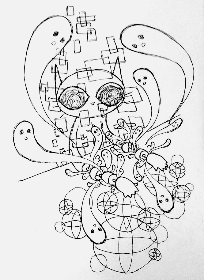 An ink drawing of an anthropomorphic cat sitting with its arms on a table. The arms are cut into pieces and ghosts rise out of the cuts. Above the hands are overlapping square geometric patterns, and below the hands are overlapping circular and spherical geometric patterns.