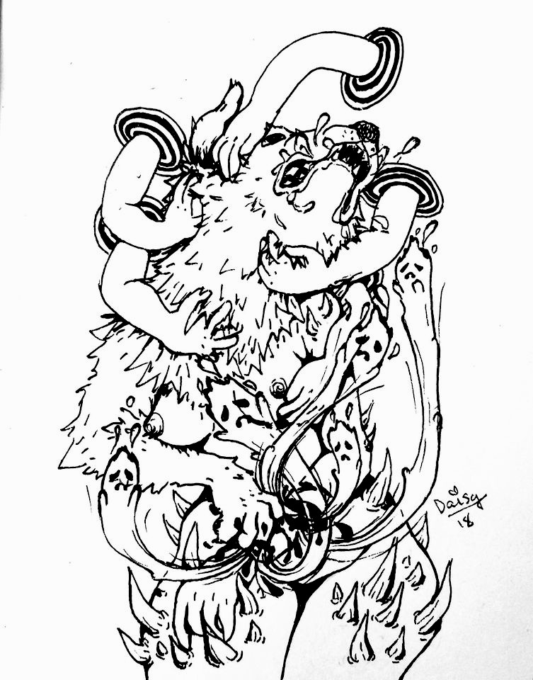 An ink drawing of a nude cis female with a wolf's head and one human hand and one wolf's paw. Multiple children's hands appear out of portals around her head to pet her fur, and her wolf head snarls while her wolf arm scratches her human arm into pieces. Ghosts with sad faces arise out of the cuts.>         </div>         <div class=