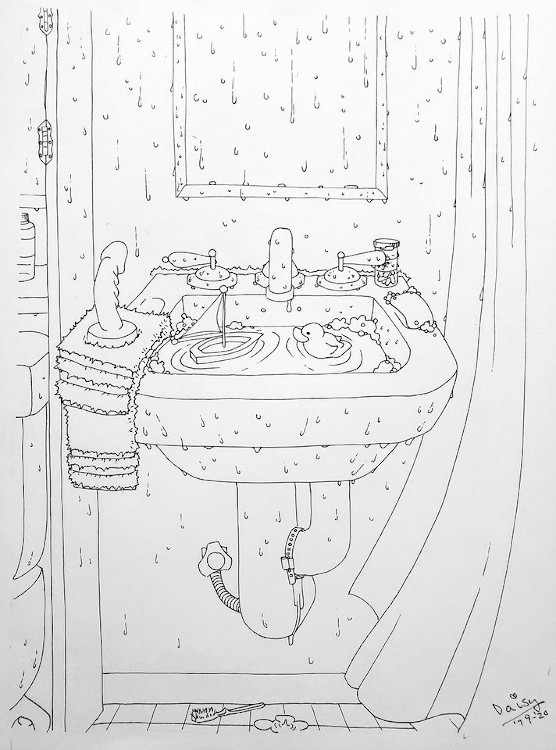 drawing of a bathroom scene showing a sink and part of a toilet and shower. There is a dildo on a towel on the left side of the sink, a bar of soap on the right side, and the sink is filled with water and a toy boat and a rubber duck are floating in the water.
