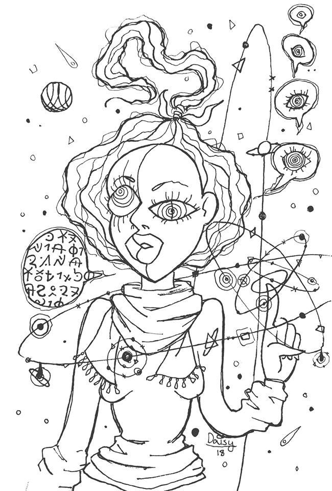 Drawing of a mishapen woman in a cubist type style. She has buggy wonky eyes, her finger points upward and a solar system circles around it. A speech bubble on the left side is full of cryptic symbolic letters. Several small speech bubbles on the right side rise out of each other, and each one has a single eye inside.