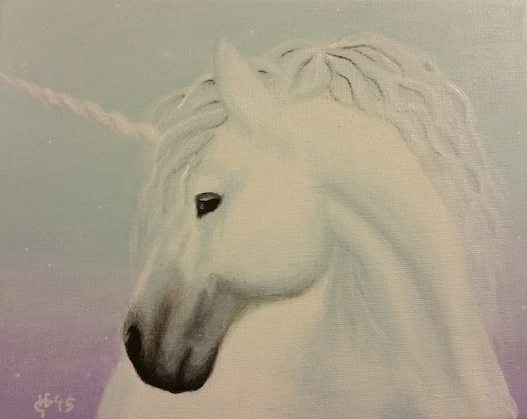 An acrylic painting of a white unicorn with a pastel colored background.