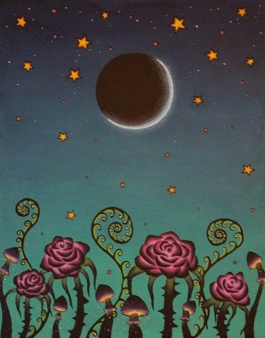 An acrylic painting showing a scene of vibrantly colored pink roses, purple and yellow mushrooms, and neon green plants against a background which is bright cyan at the bottom and fades to dark blue at the top with a crescent moon and orange and white stars.